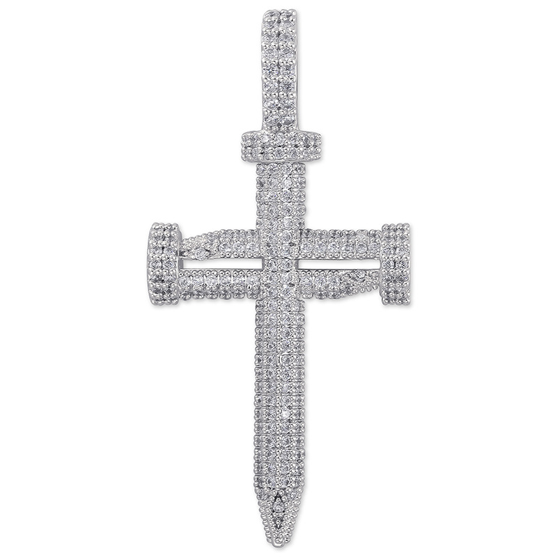 "Iced Out Bling Nail Cross Pendant Necklace Mens/Women Micro Paved CZ Hip Hop Gold Silver Color Charm Chains Jewelry Gift 24"" Chain"