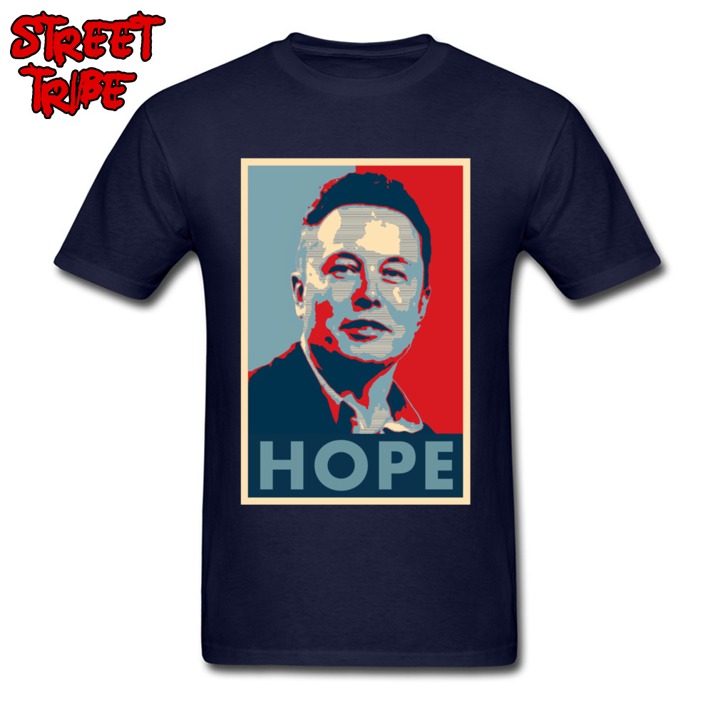 Elon Musk Hope Poster 1459 Printed On Thanksgiving Day Pure Cotton Crew Neck Mens Tops & Tees T-shirts Short Sleeve Top T-shirts Elon Musk Hope Poster 1459 navy