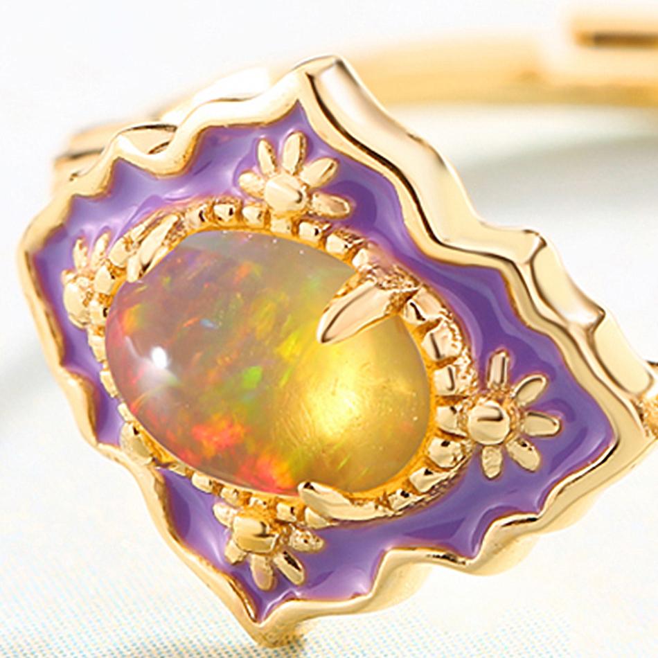 ALLNOEL 925 Sterling Silver Gemstone Rings For Women Vintage Real Natural Fire Opal Enamel Rainbow Ring Wedding Fine Jewelry (10)
