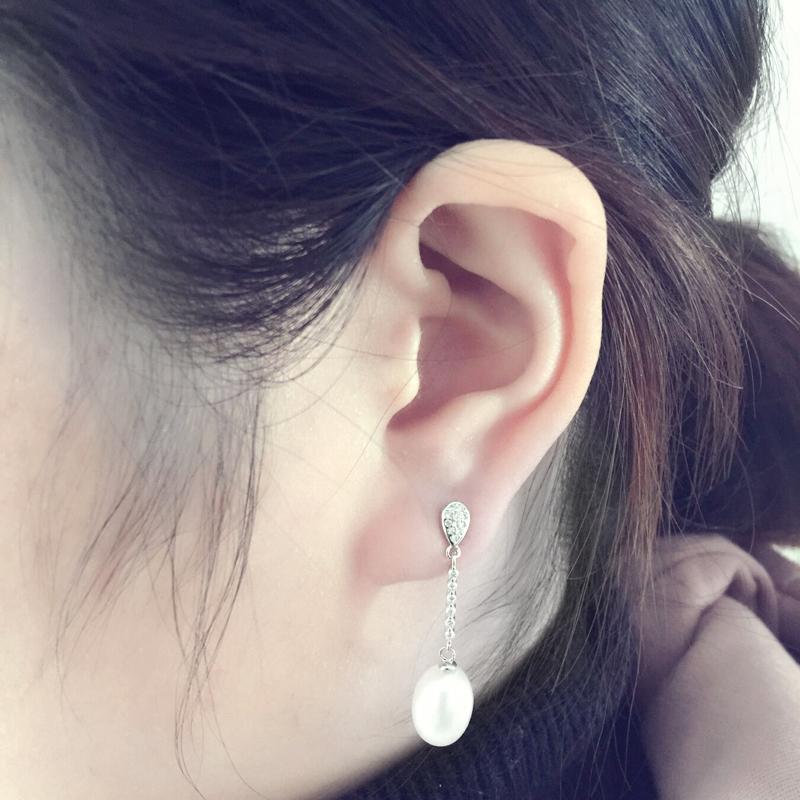 Wedding hanging long earrings for women,natural freshwater pearl earrings silver 925 jewelry real 8-9mm water drop pearls box Y18110503
