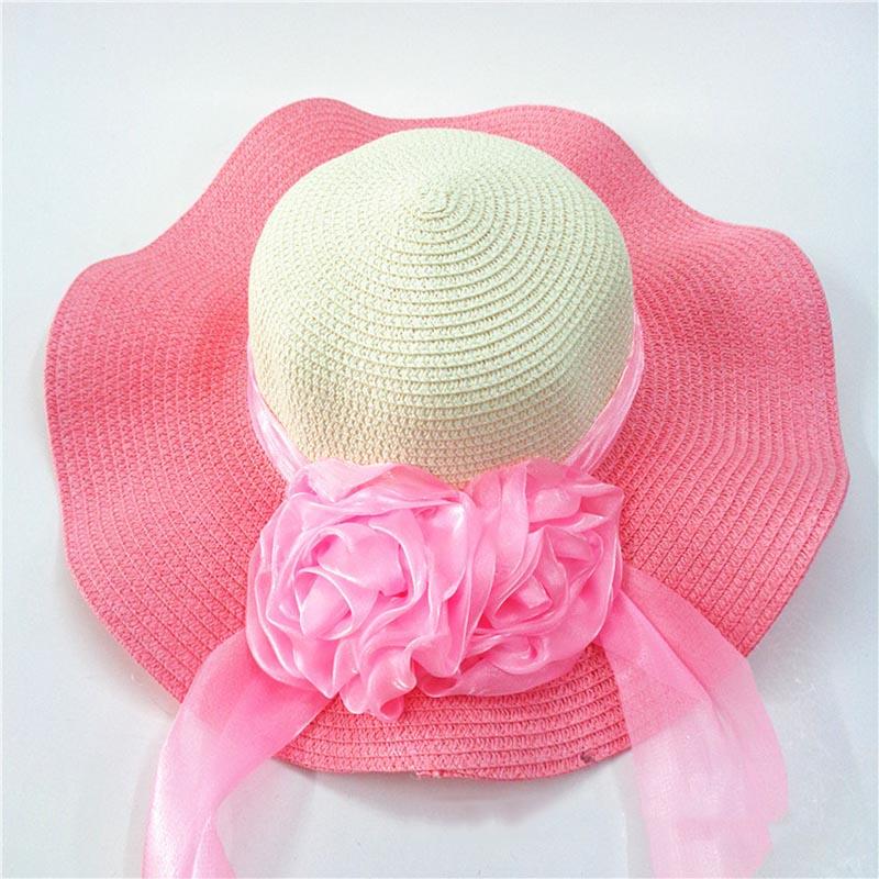 Fashion Straw Hat Flower Ribbon Summer Beach Wide Brim Fisherman Sunscreen Folding Hand Made Casual Wave Girls Hats CP0238 (8)
