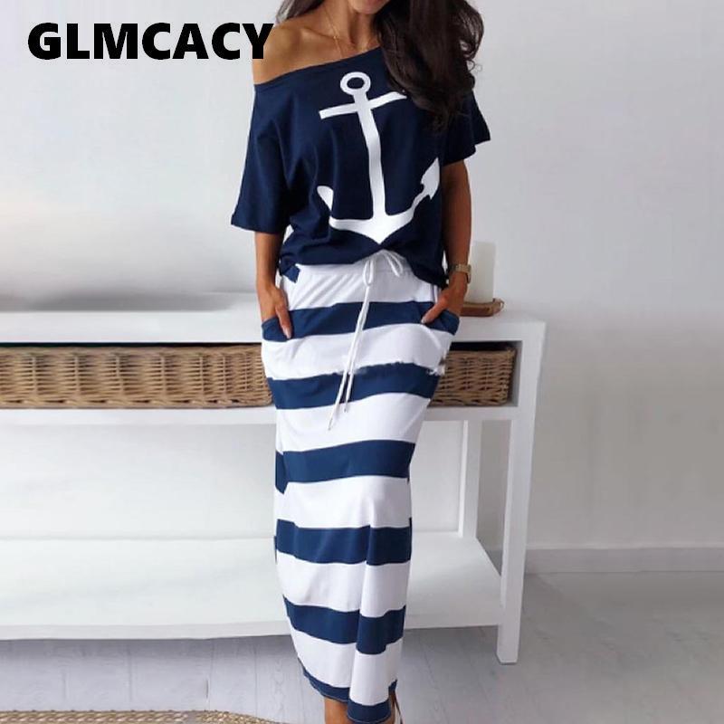 T-shirt da donna a due pezzi T-shirt con stampa di ancoraggio a barca Imposta gonna casual alla caviglia Moda Off spalla maxi gonna a strisce Y19062601