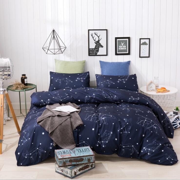 Gris /& Blanc Étoiles De Couette Couette Taie d/'Oreiller Set Simple Double King Espace