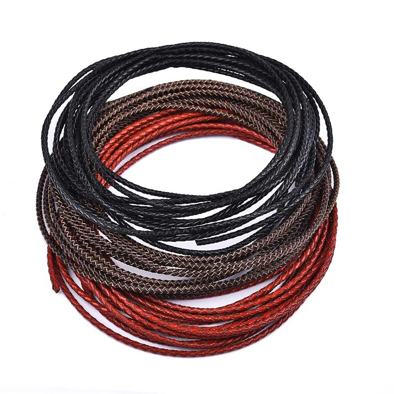 5Meter Dia 3MM Genuine Leather Cords Round Rope String Cord For DIY Bracelet Jewelry Making Craft Jewelry Findings