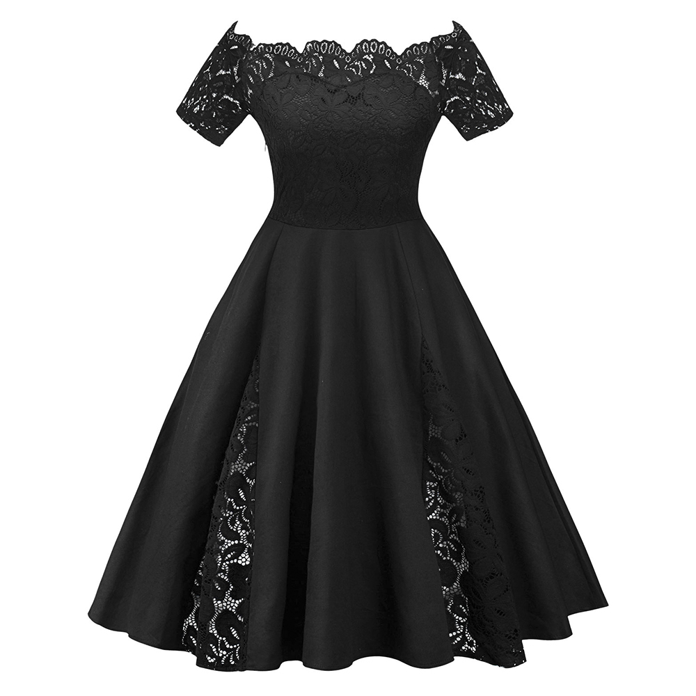 Wipalo Women Vintage Flare Party Dress Plus Size 5xl Lace Panel Off The Shoulder Dress Robes 2018 Retro Ladies Dresses Vestidos Y19051102