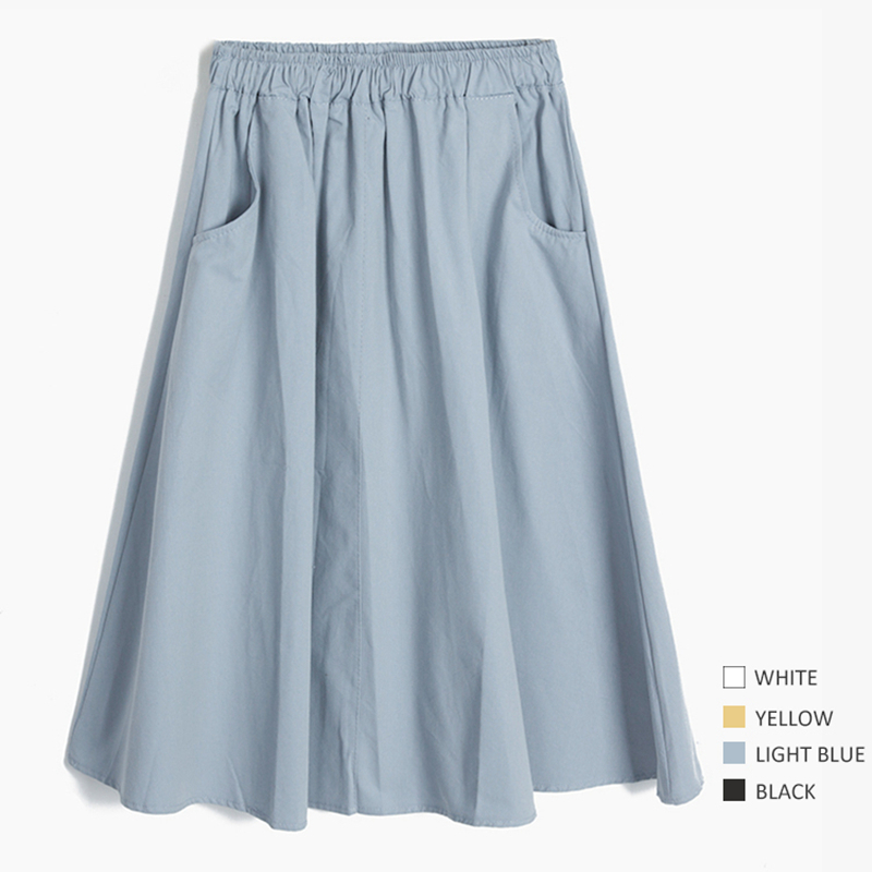 Women Maxi White Cotton Skirt Girl Casual Midi Elastic High Waist Plus Size Flare A Line Pure Color Pocket Summer Skirts Female J190427