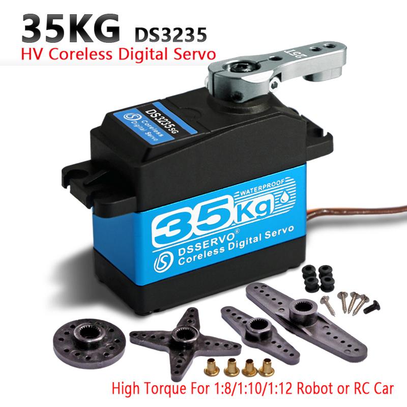 1x35 kg Yüksek Tork Çekirdeksiz Motor Servo Ds3135 Metal Dişli Ve Ds3235 Stainlesssg Robotik Diy Için Su Geçirmez Dijital Servo, rc Araba J190719