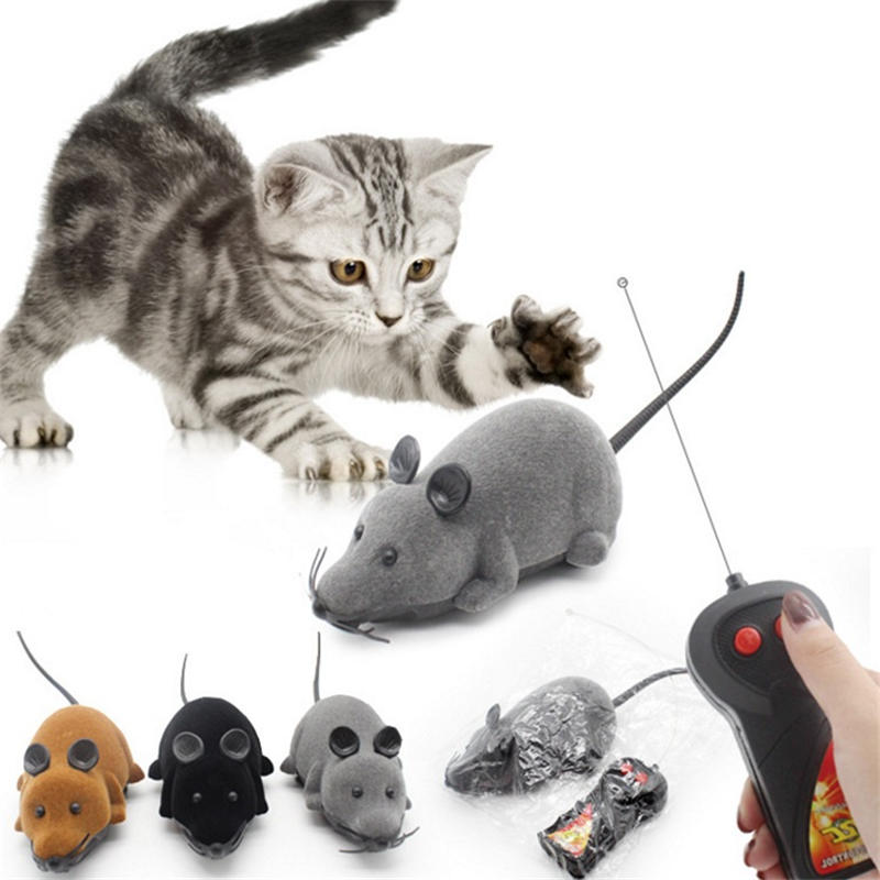 Electric Remote Control Cat Toy Wireless remote controller Electric Power Movable Plastic Lifelike Flocking Simulation Mouse Pet Toys