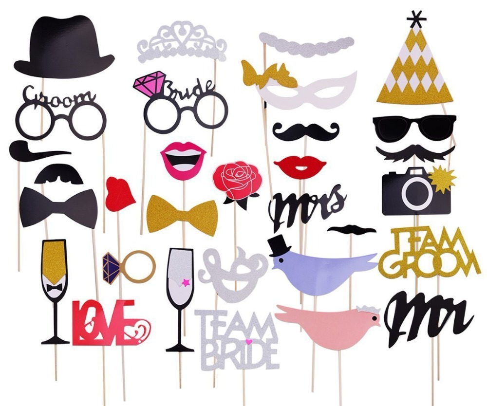 34Pcs Party Props Photo Booth Moustache Birthday Engagement Wedding Funny UK