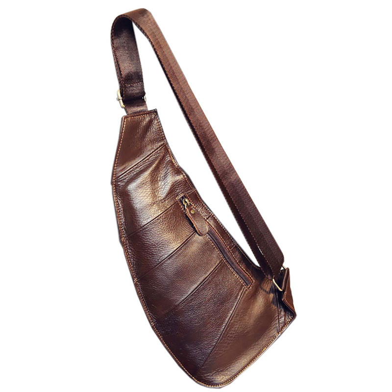 Genuine Leather Vintage Sling Bag Handbags For Men Travel Fashion Cross Body Messenger Shoulder Chest Bag High Quality Day Pack Y190701