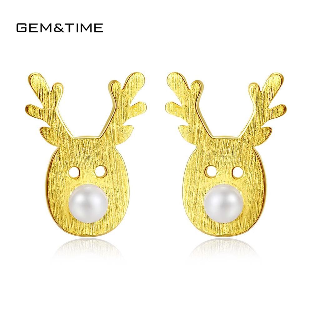 Authentique 925 Sterling Bijoux en argent Antler Corne//Cerfs Boucles D/'oreilles