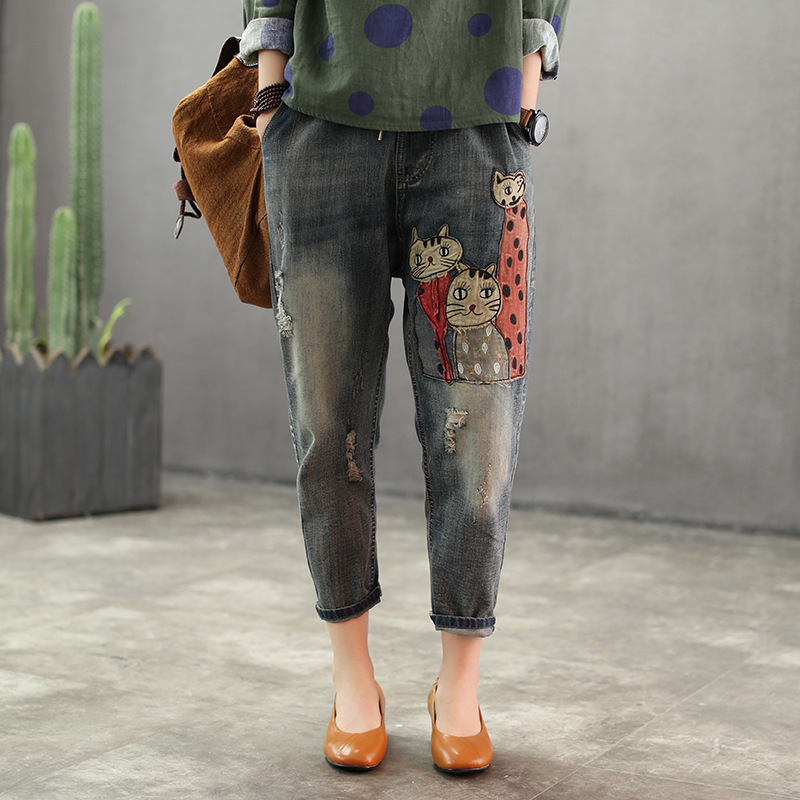 Spring Autum Jeans Retro Women Slim-type Slim-type New Elastic Waist Pocket Bleached Kitten Pattern Female Casual Denim Trousers Y19072301