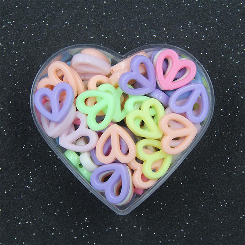 BoYuTe 500GBag Mix Colors 17MM Acrylic Heart Beads Children DIY Handmade Beads for Jewelry Making (3)