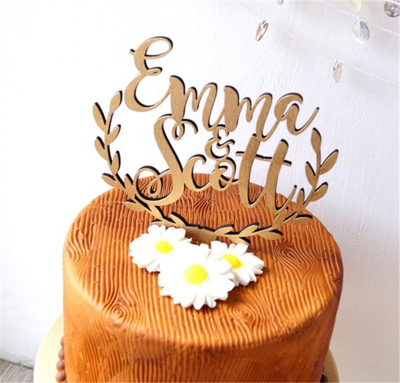 Personalized Names Wedding Cake Topper, wooden rustic wedding cake topper, acrylic cake topper custom (3)