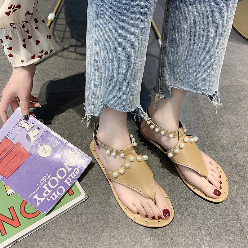 Overseas2019 Shoe Second Posimi Песчаный пляж с плоским дном Рим Toe Pearl Низкий с босоножками Женская обувь