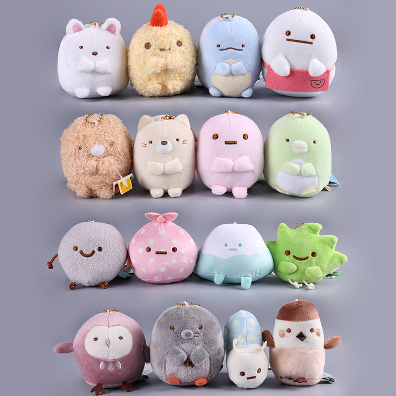 16pcs/Lot San-X plush pendants sumikko gurashi plush doll Keychain toys stuffed plush toy 8cm NORB-001