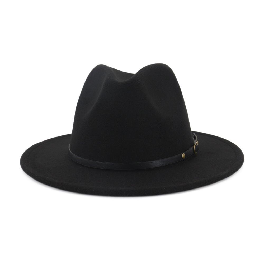 Grande taille 60 CM Noir Rouge Patchwork Plaine Laine feutre Jazz Fedora Chapeaux Hommes Femmes Panama large Brim style Trilby Cowboy Chapeau T200104