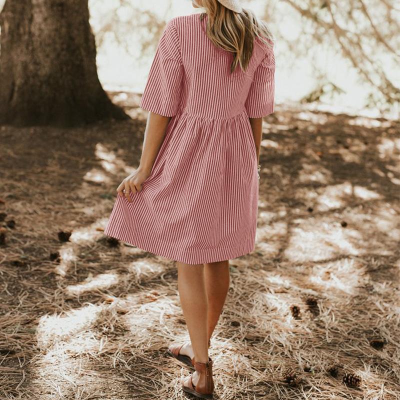 Zanzea Women Summer Elegant O Neck Half Sleeve Pockets Loose Party Vestido Casual Baggy Work Striped Dress Sundress Oversized J190620
