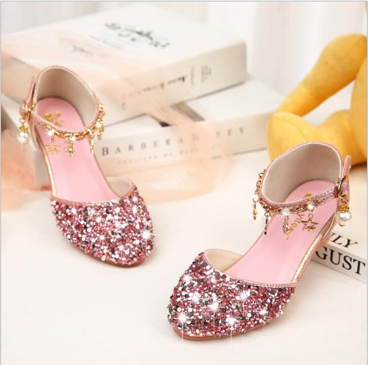 Kids Girls Mary Jane Wedding Party Shoes Glitter Bridesmaids Low