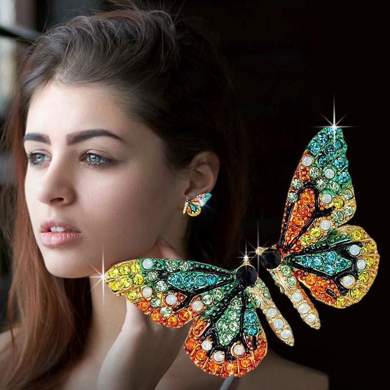 Mujeres Elegante Aretes De Moda Cristal Mariposa Borla larga Joyería CB