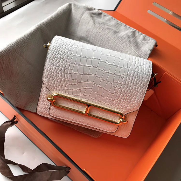 Charm2019 Genuine Airline Leather Crocodile Grain The Nose Of A Pig You Bean Curd Single Shoulder Satchel Mini- Small Square Package