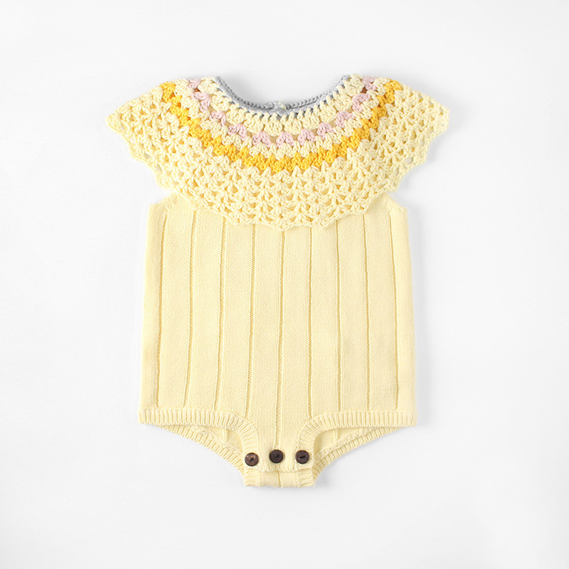 Baby Sweater Romper 100% Cotton Newborn Baby Knitted Hollow Out Suit Boy and Girl Pure Color Baby Climbing Suit for 6-18 Months