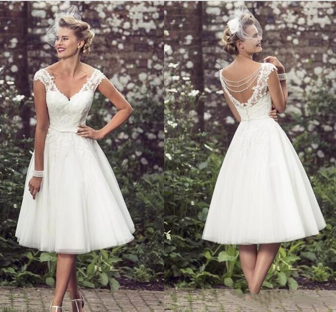 Wholesale Vintage Tea Length Wedding Dress Buy Cheap In Bulk From China Suppliers With Coupon Dhgate Com