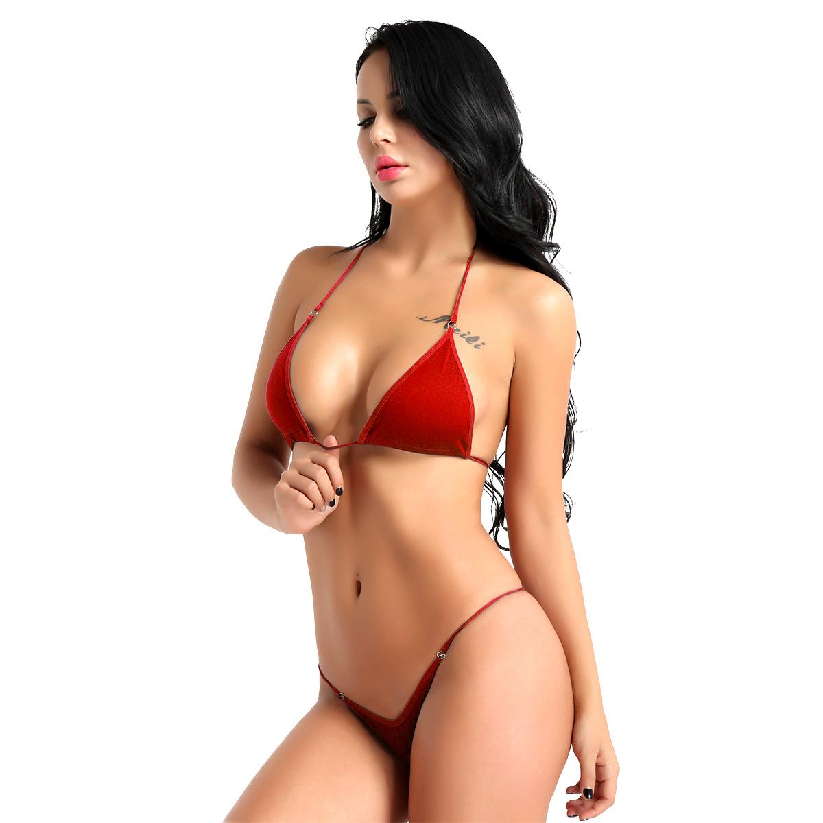 Women Intimates Lingerie Bra Set Solid Color Halterneck Mini Micro Bikini Bra Top with G-String Briefs Underwear Sleepwear