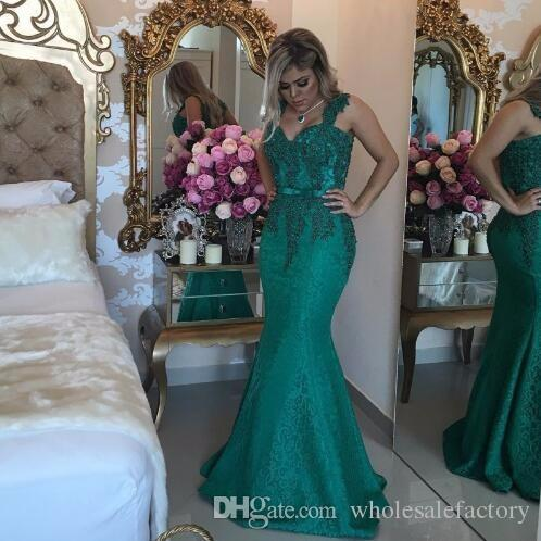 Long Mermaid Dresses Evening Wear Hunter Green 2017 Queen Anne Sweetheart Prom Dress with Beaded Lace Formal Evening Dresses Low Back
