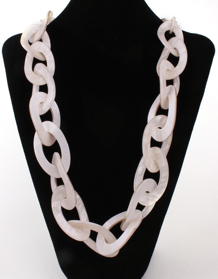 Round Plastic Necklace Link Jewelry Long Necklace Colors Fashion Quality Acrylic Jewelry,Grey