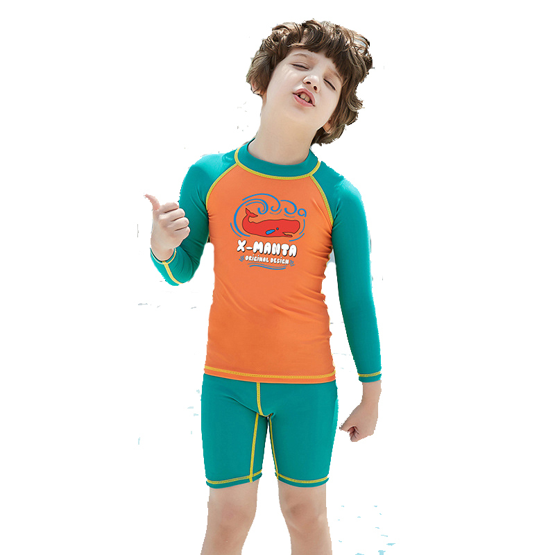 DiveSail kids boys swimsuit Swimming Suit 2 Piece set UV50+ sun protection for 3-9Y children Rash Guards Surfing Beach Swimwear