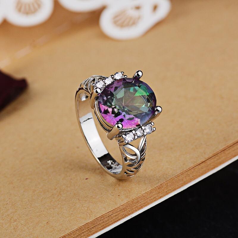 Women Fashion Delicate White Fire Opal Ring Wedding Party Jewelry Gift WA