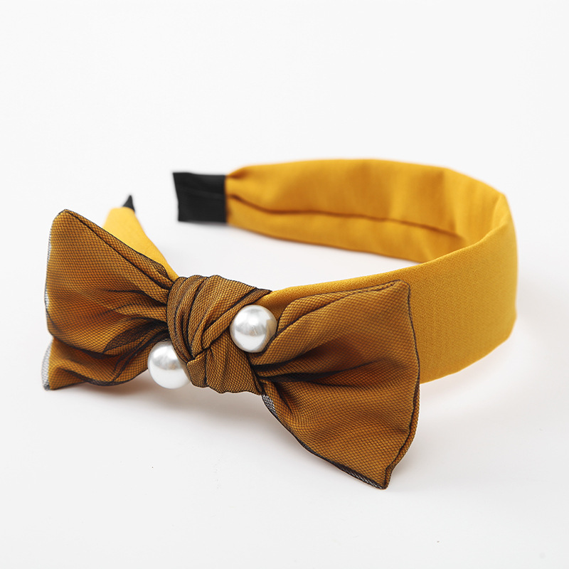 10 yellow hair bows headband