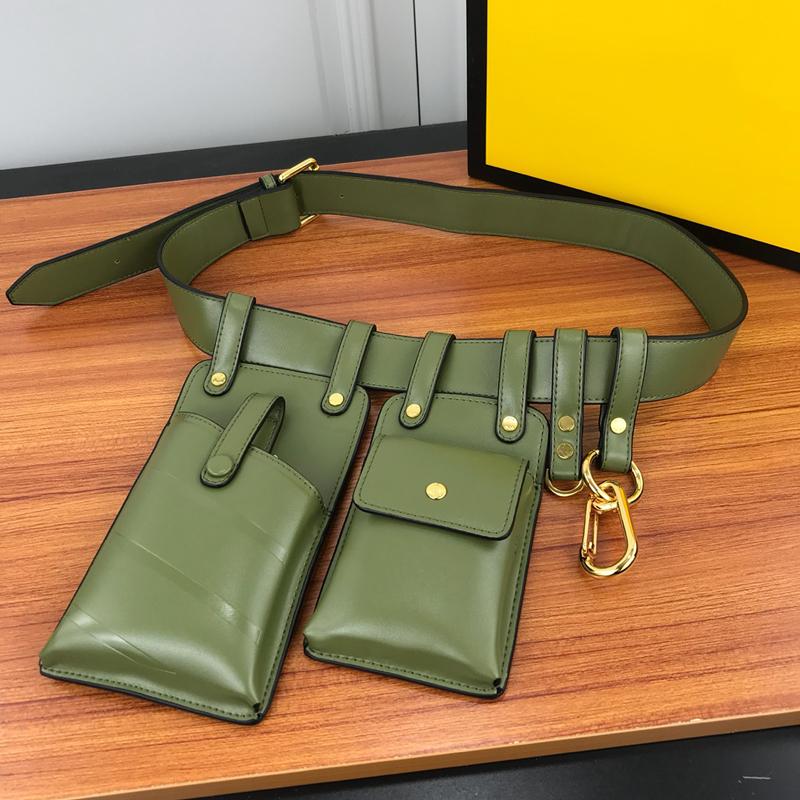 Sacos de cintura Bolsa Carteira Belt Telefone celular sacos Chaveiros Primavera Buckles do metal do ouro ombro cinto combinando