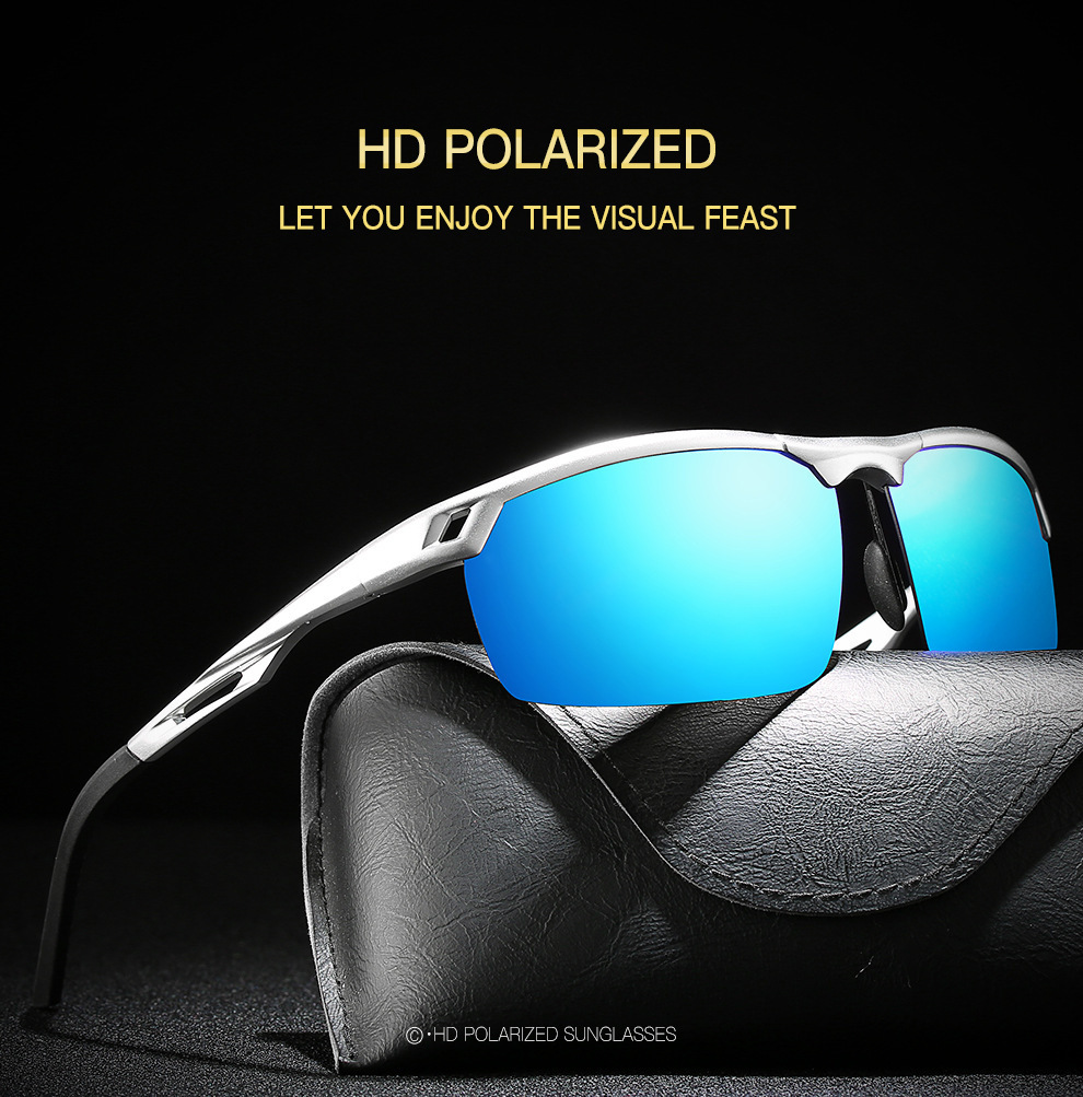 Herren Polarisierende Sonnenbrille Herren Trend Aluminium Magnesium Alloy Fashion Sonnenbrille Sport Driving Glasses + Box