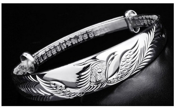 OMHXZJ Wholesale Ethnic Fashion Elegant Woman Child Gift Phoenix Push Pull 999 Sterling Silver Bracelet Bangle Adjustable SZ72