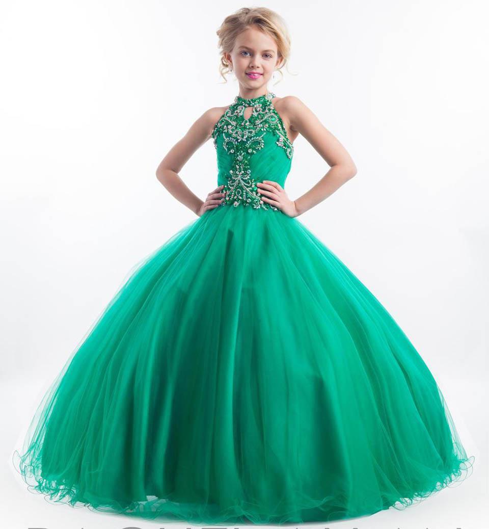 günstige mädchen pageant kleider für teens high keyhole neck kristall perle  beades grün lange größe 13 party lange kinder blume mädchen kleider