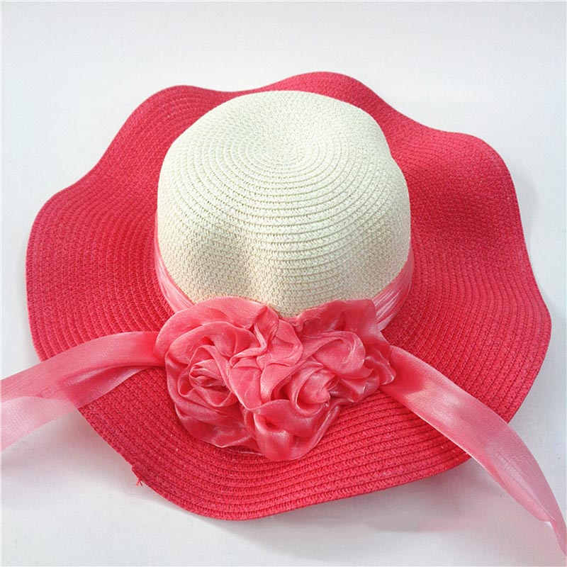 Fashion Straw Hat Flower Ribbon Summer Beach Wide Brim Fisherman Sunscreen Folding Hand Made Casual Wave Girls Hats CP0238 (7)