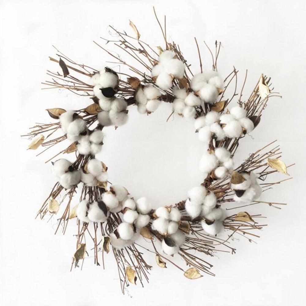 Branche Fleur De Coton nouveau artificial kapok head naturel séché décoration de noël fleur de  coton mariage accueil fournitures de bricolage couronne bouquet boîte-cadeau