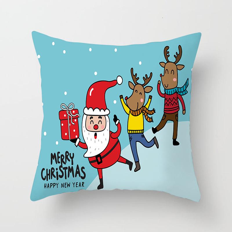 1Pcs 4545 Cm Happy New Year Christmas Decorations for Home Cartoon Santa Claus Xmas Decorative Pillows Cover adornos navidad (1)