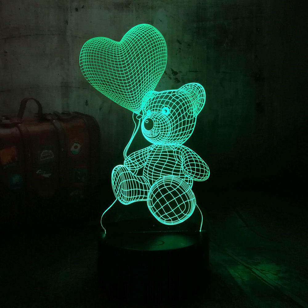 Carino Nuovo 2019 bambino Orsacchiotto attesa di amore del cuore Balloon 7 cambiamento di colore della lampada della Tabella 3d regalo di Natale ha condotto la luce della decorazione i bambini Q190611