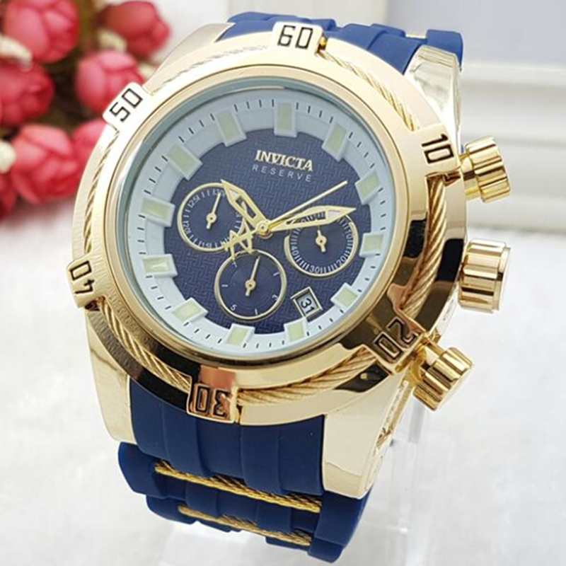 High quality Swiss cosc INVICTA brand rotating dial outdoor sports Chronograph Luminous Men's Silicone belt Multifunction quartz watch