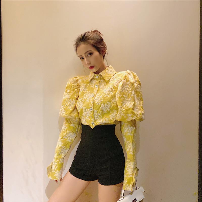 Jaune nouvelle piste coréenne Floral broderie chemisier chemise à manches longues femmes Puff Vintage blusas 2020 ressort unique breasted Tops Slim