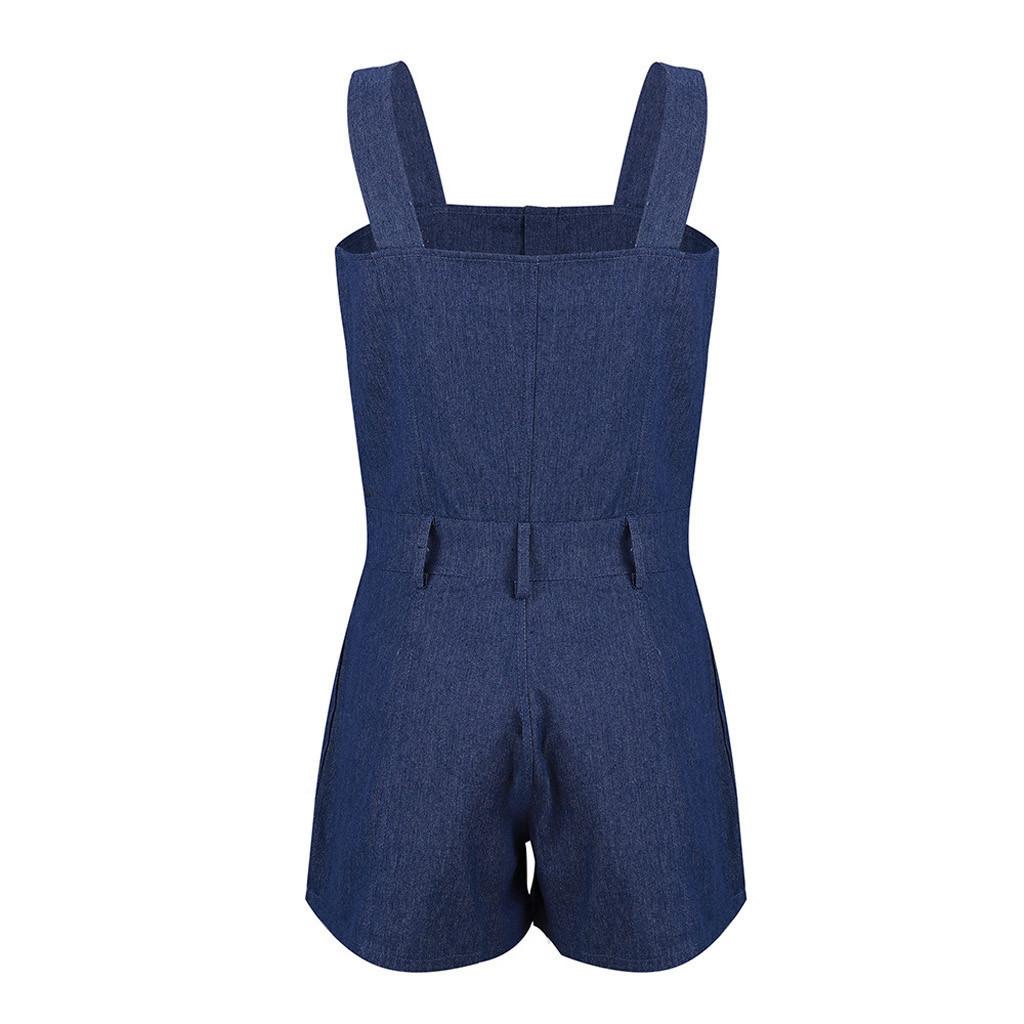 Women Girl Denim Jeans Camis Solid Button Pockets Sleveless Slim Mini Jumpsuit Overalls For Women Romper T3190605