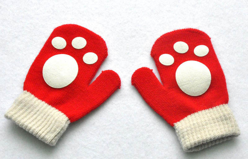 1-4 years little kids children warm winter gloves dog bear paw printed mittens children baby gloves
