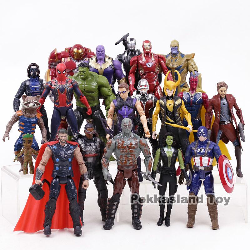 Rächer Unendlichkeitskrieg Marvel Super Heroes Spielzeug Iron Man Captain America Hulk Thanos Spiderman Action Figure Set Sammlerspielzeug Y19051804