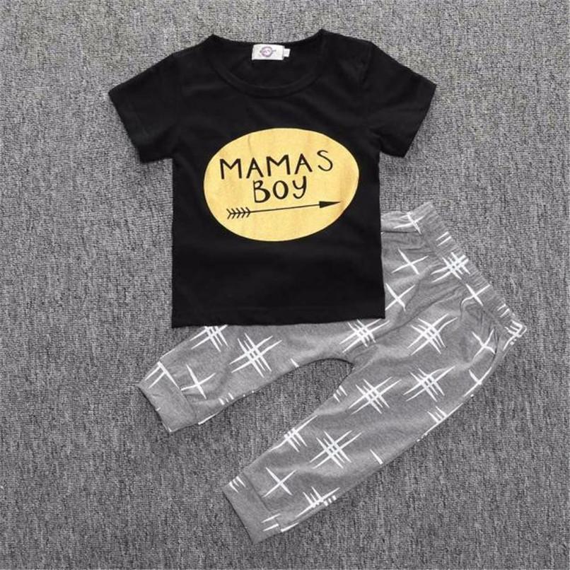 2PCS Kids Boys Clothes Boys Sets Infant Toddler Kids Baby Boys Letter Printed Short Sleeve T-shirt Tops+Long Pants Set JY26#F (1)