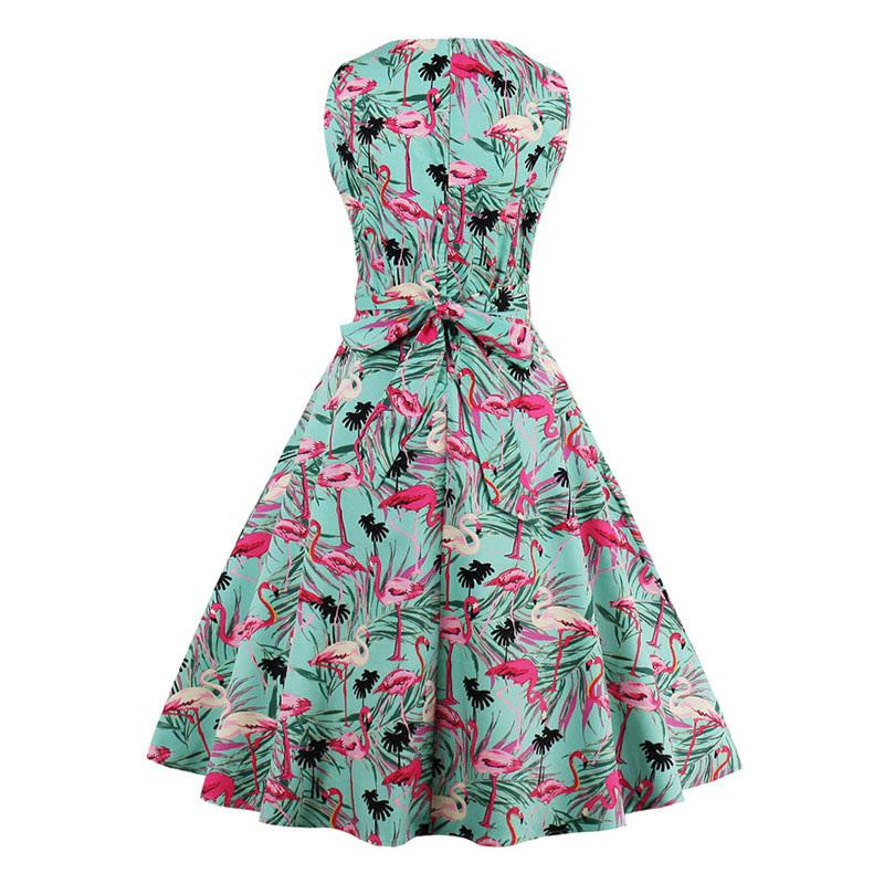 Kostlish 9 Style Print Summer Dress Women 2017 Sleeveless Swing 1950s Hepburn Vintage Tunic Dress Elegant Party Dresses Sundress (29)