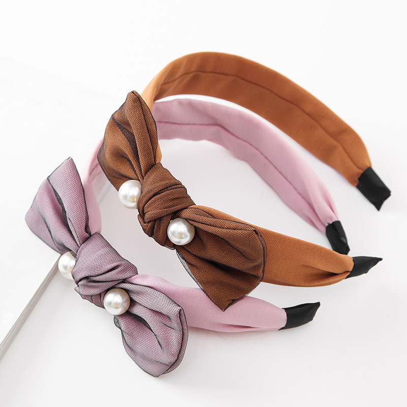 10 women hairbands with pearl and bow