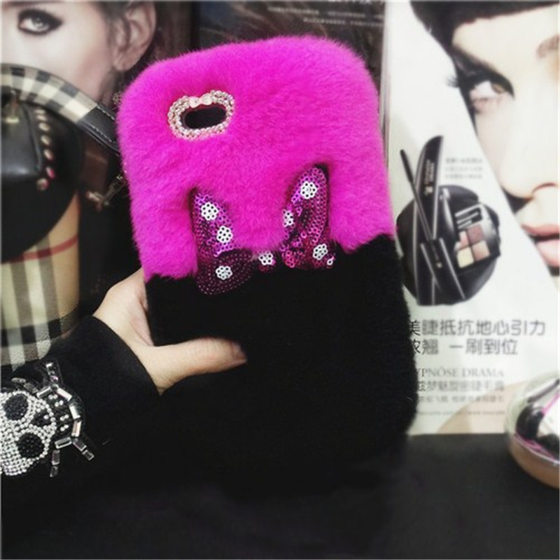 Mickey-Bowknot-Rabbit-Fur-Cases-For-iPhone-X-Warm-Handmade-Rabbit-hair-Cover-For-iPhone-iPhone (3)
